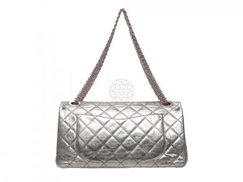 0d9bf7a04024e0 ... Chanel Metallic 2.55 Reissue Quilted Classic 228 Flap Bag - Silver.  PrevNext