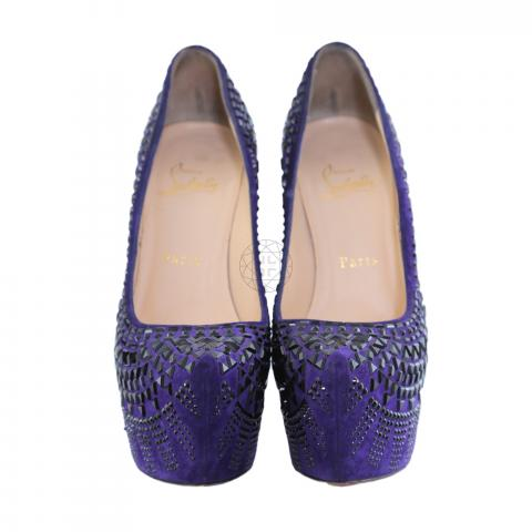 163ed68d5ff Sell Christian Louboutin Decora 160mm Suede Strass Pumps - Purple ...