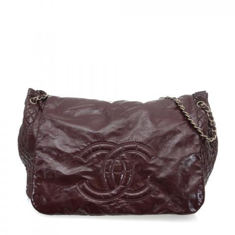 5b07ed76f1e3 Sell Chanel Vinyl Rock & Chain Flap Shoulder Bag - Maroon ...