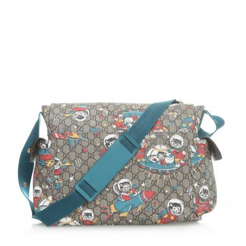 4e5c1951d47 ... Gucci Space Cat GG Supreme Diaper Bag - Teal Brown. PrevNext