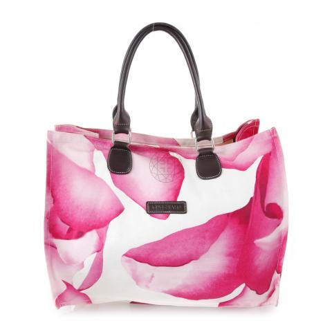 Sell Longchamp Orchid Print Canvas Tote Bag - Fuchsia White ... 5d7433c447302