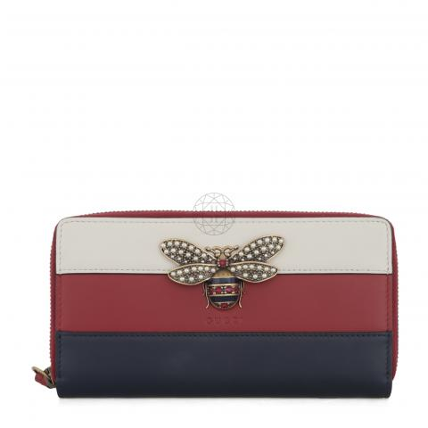 e1aefe25363 Sell Gucci Queen Margaret Leather Zip Around Wallet - Blue Red White ...